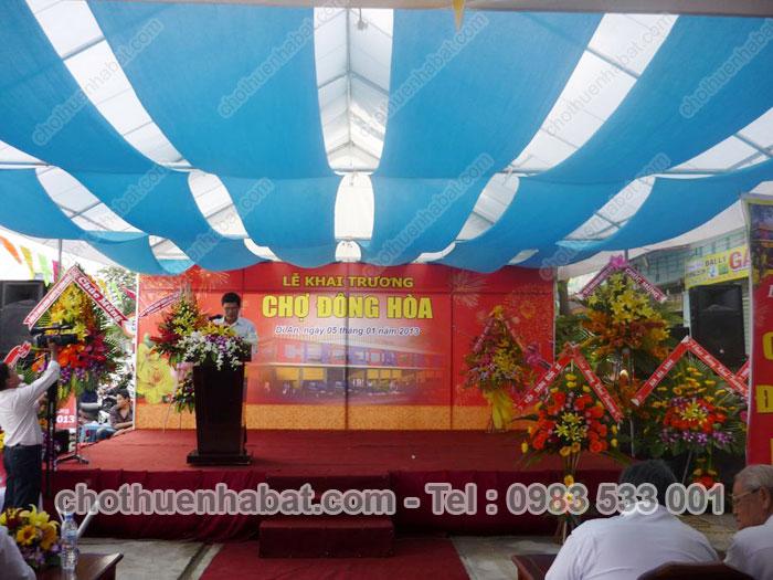 Nhà bạt với Lễ khai trương Chợ Đông Hòa, Dĩ An