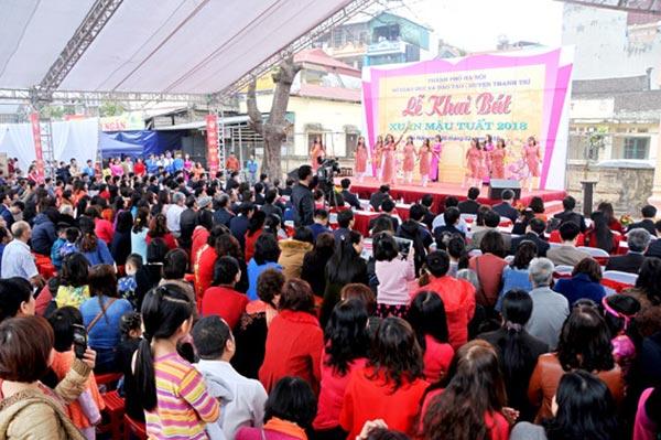 Lễ khai bút đầu Xuân tại đình thờ Tiên triết Chu Văn An
